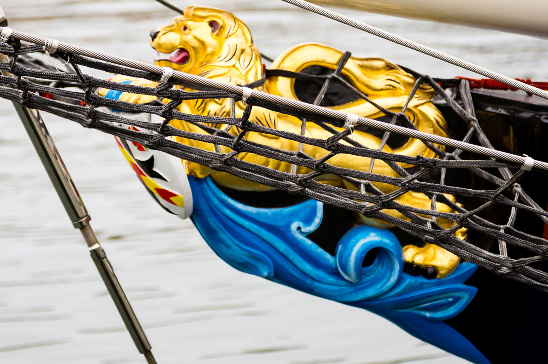 Close-up of Conrad S/Y Malcolm Miller's restored crest embellished bow