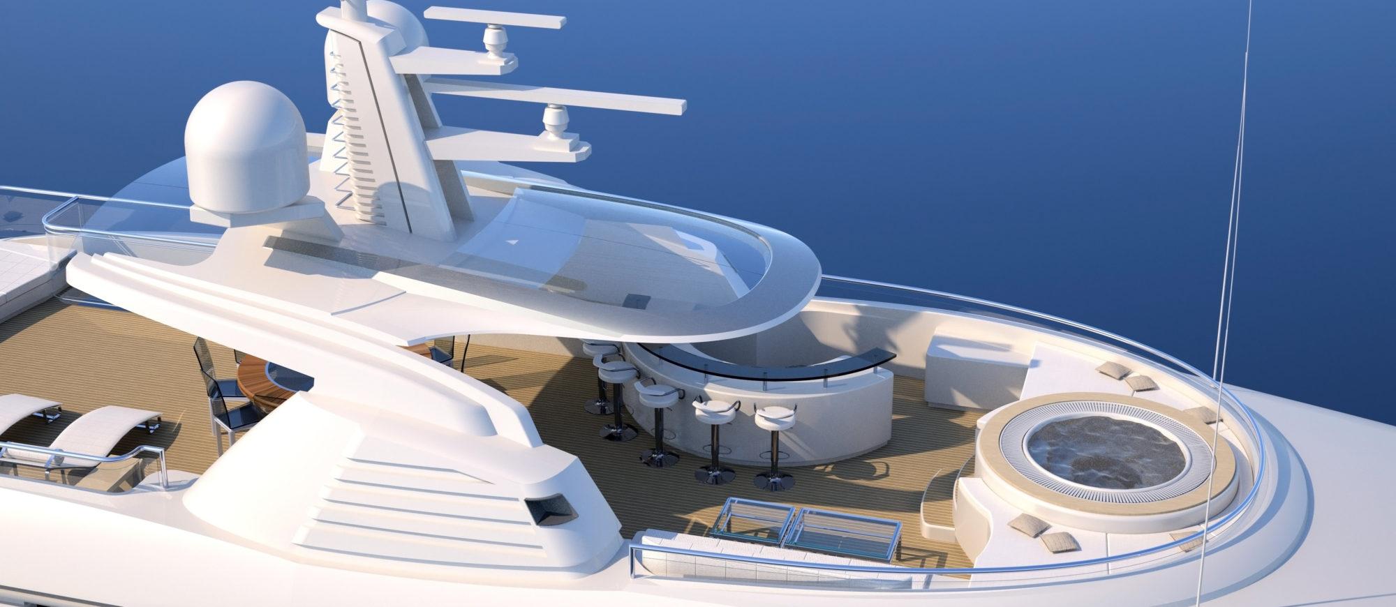 Conrad C166 Superyacht Concept Vallicelli Visualisation Sundeck 1