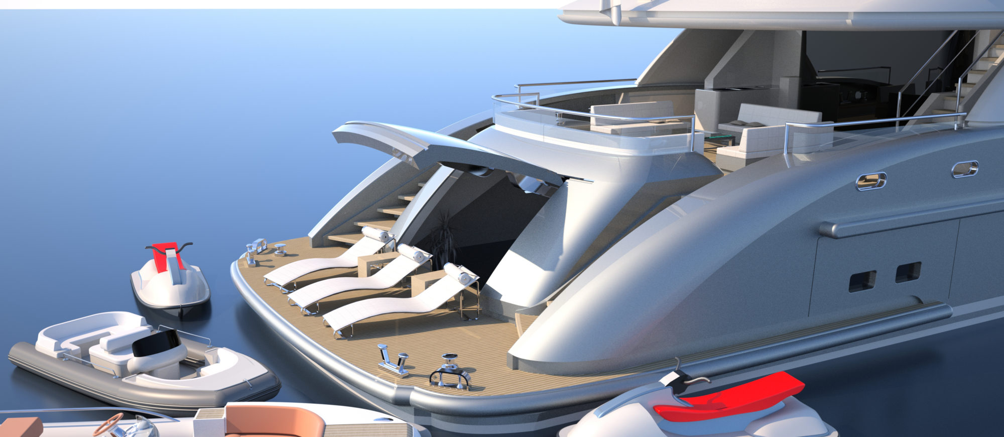 Conrad C166 Superyacht Concept Vallicelli Visualisation Aft Garage Beach Club 1