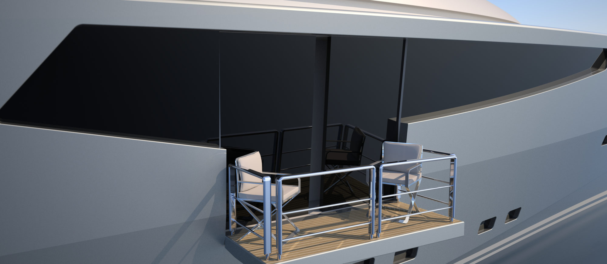 Conrad C166-Superyacht Concept Vallicelli Visualisation Owner's Cabin Balcony