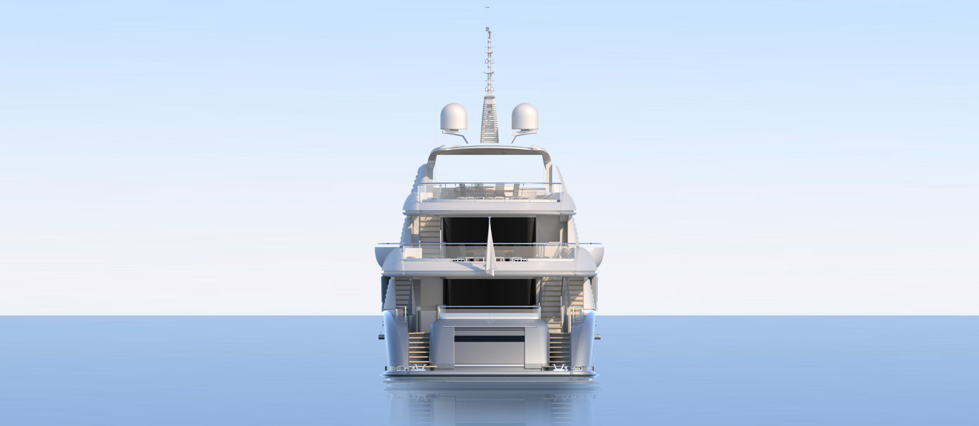 Conrad C166 Superyacht Concept Vallicelli Visualisation Rear Profile
