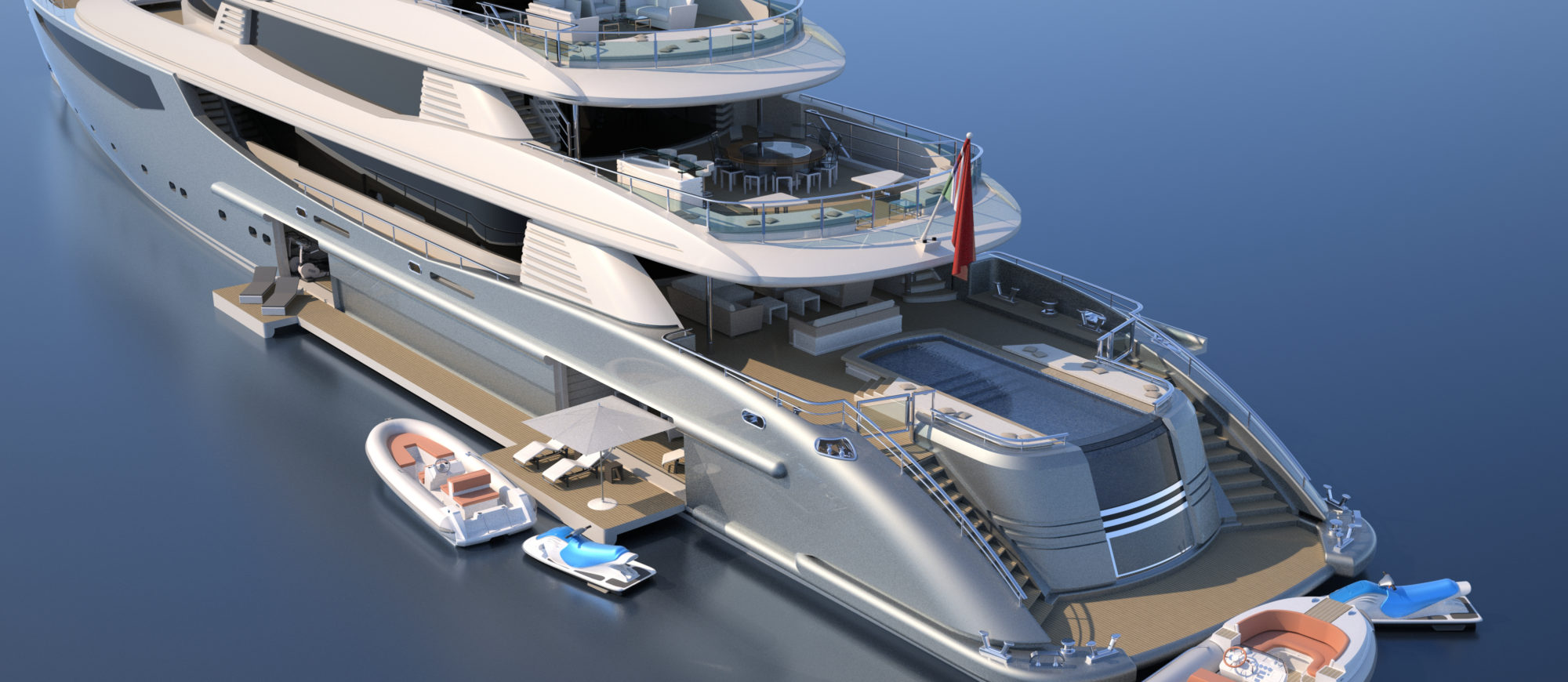 Conrad C233 Superyacht Concept Vallicelli Visualisation Aft Decks