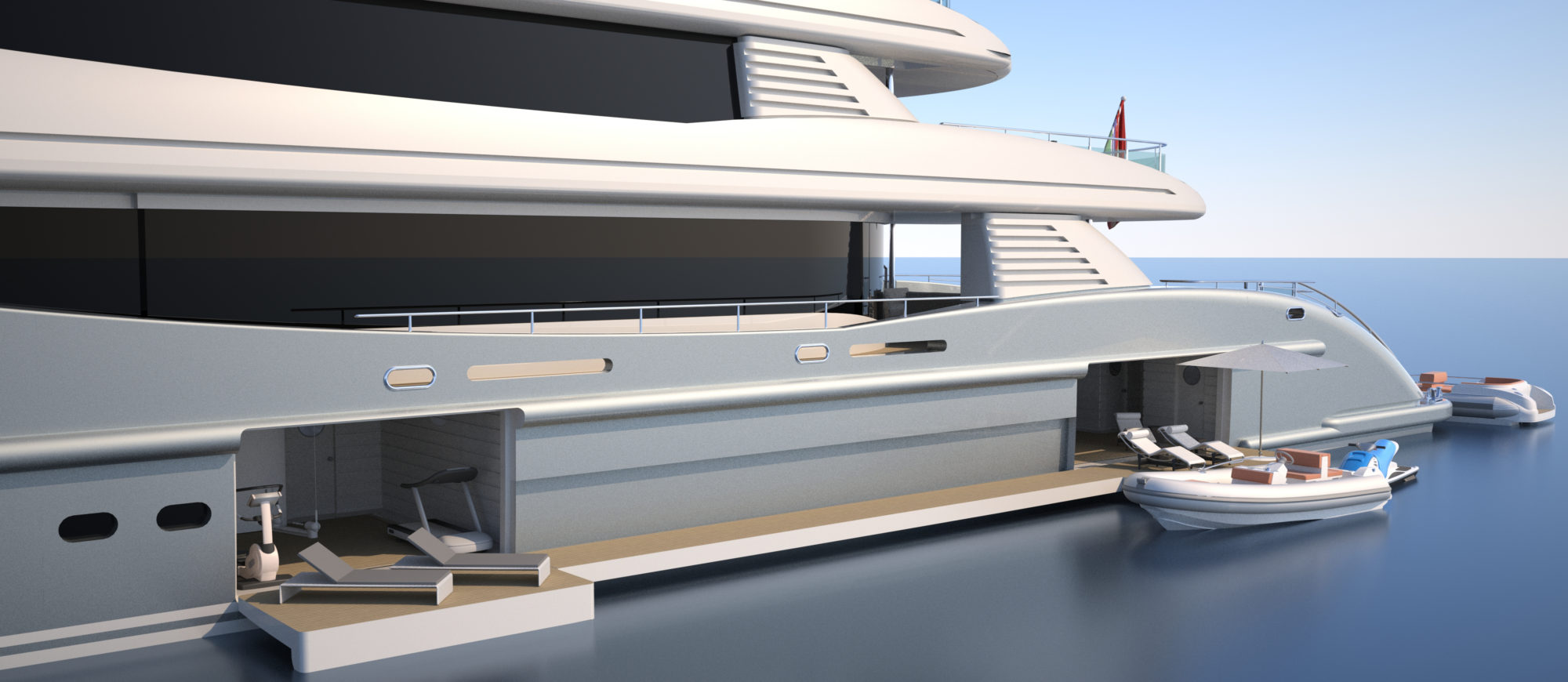 Conrad C233 Superyacht Concept Vallicelli Visualisation Side Tender Beach Club Access 1
