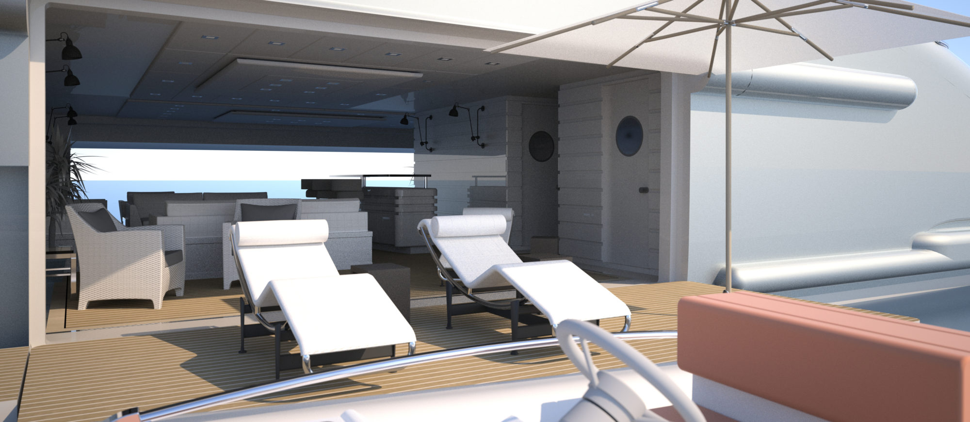 Conrad C233 Superyacht Concept Vallicelli Visualisation Side Tender Beach Club Access 2