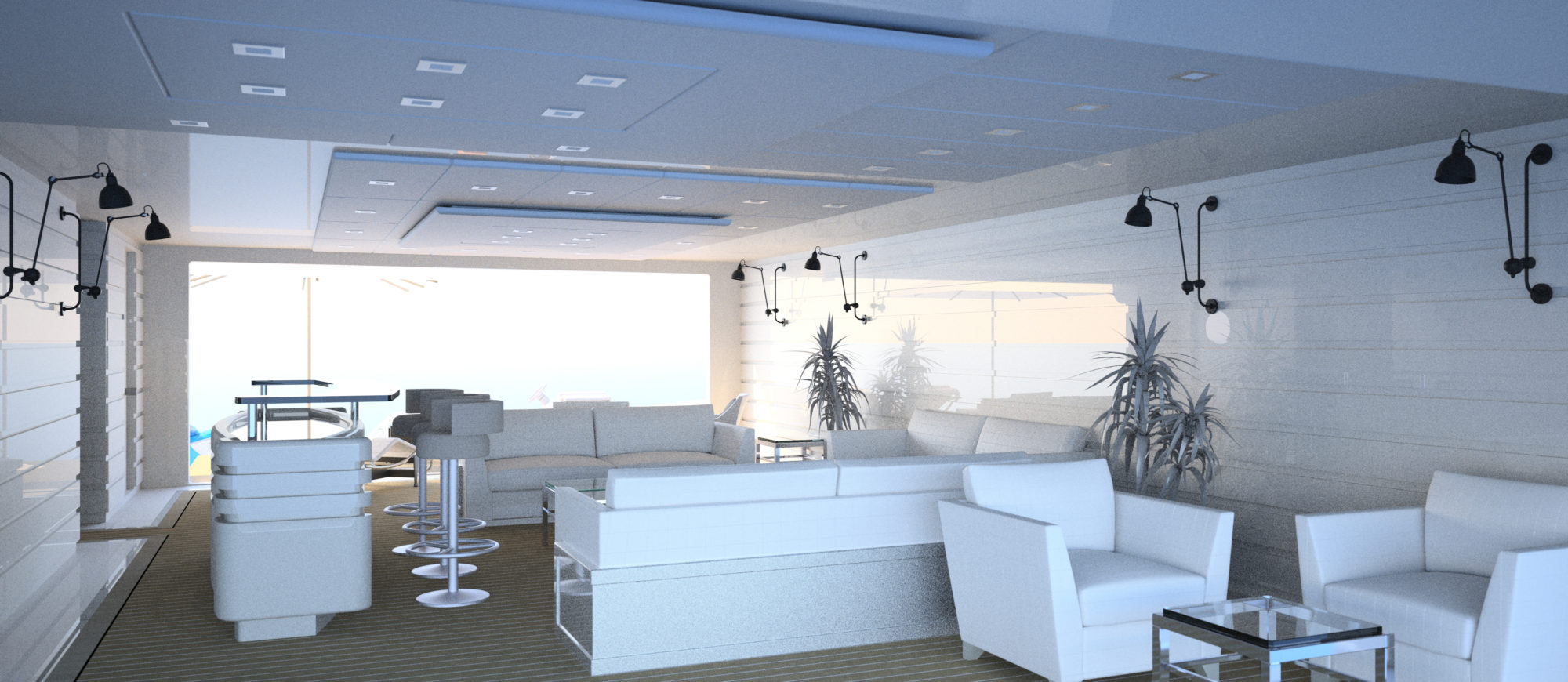 Conrad C233 Superyacht Concept Vallicelli Visualisation Beach Club 1