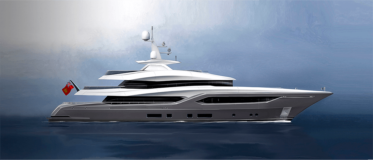 Side view visualisation of motor yacht concept Conrad C144