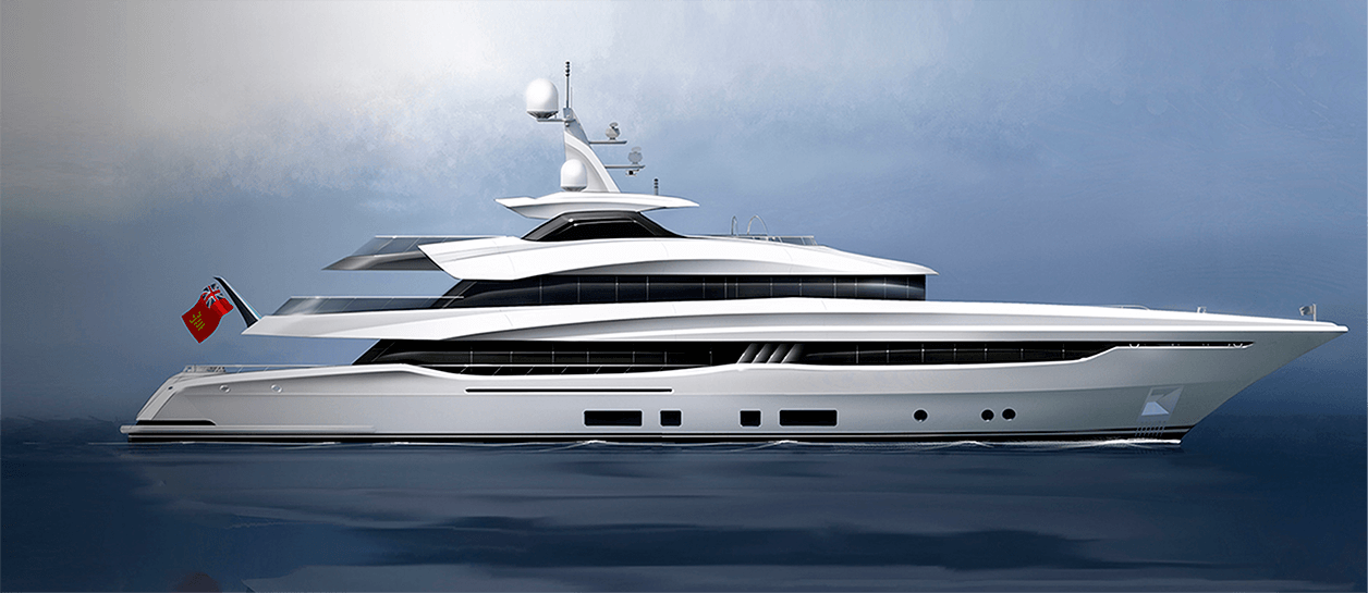 Side View Visualisation of Conrad motor yacht concept C155