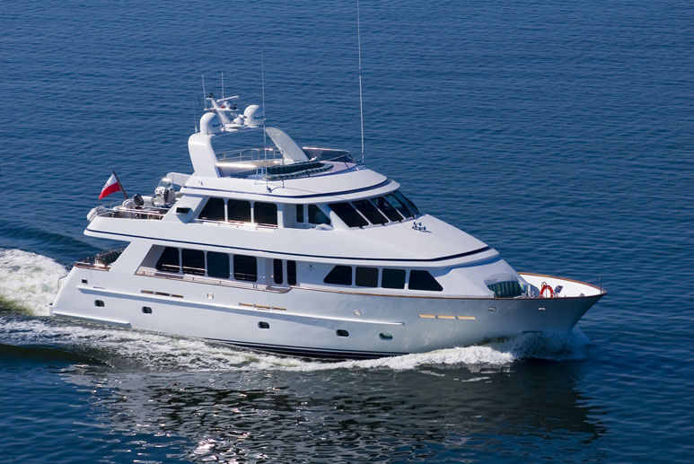 Conrad's first built yacht M/Y Escape S running shot cruising in the Baltic Sea