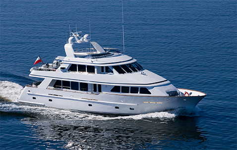 First Conrad yacht M/Y Escape S cruising in the Baltic Sea.