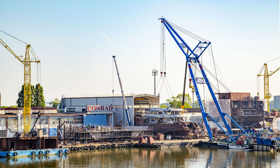 Waterfront view of Conrad Shipyard site and production facilities.