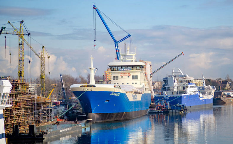 Modern picture of commercial ships launched by Marine Projects Ltd.