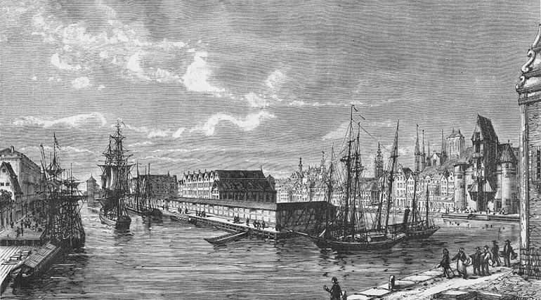 Black and white drawing of Gdansk, Poland centuries ago.