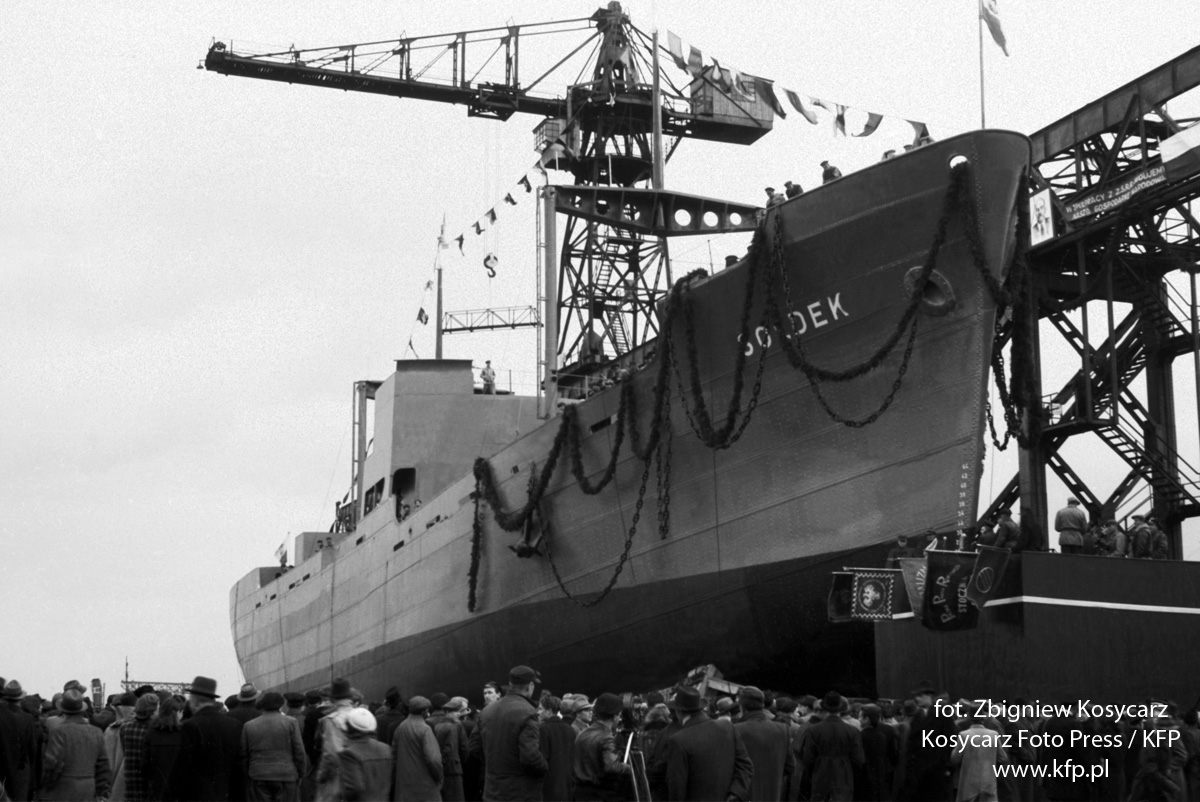 Historic picture of SS Sołdek, the first ship built in Poland after WWII