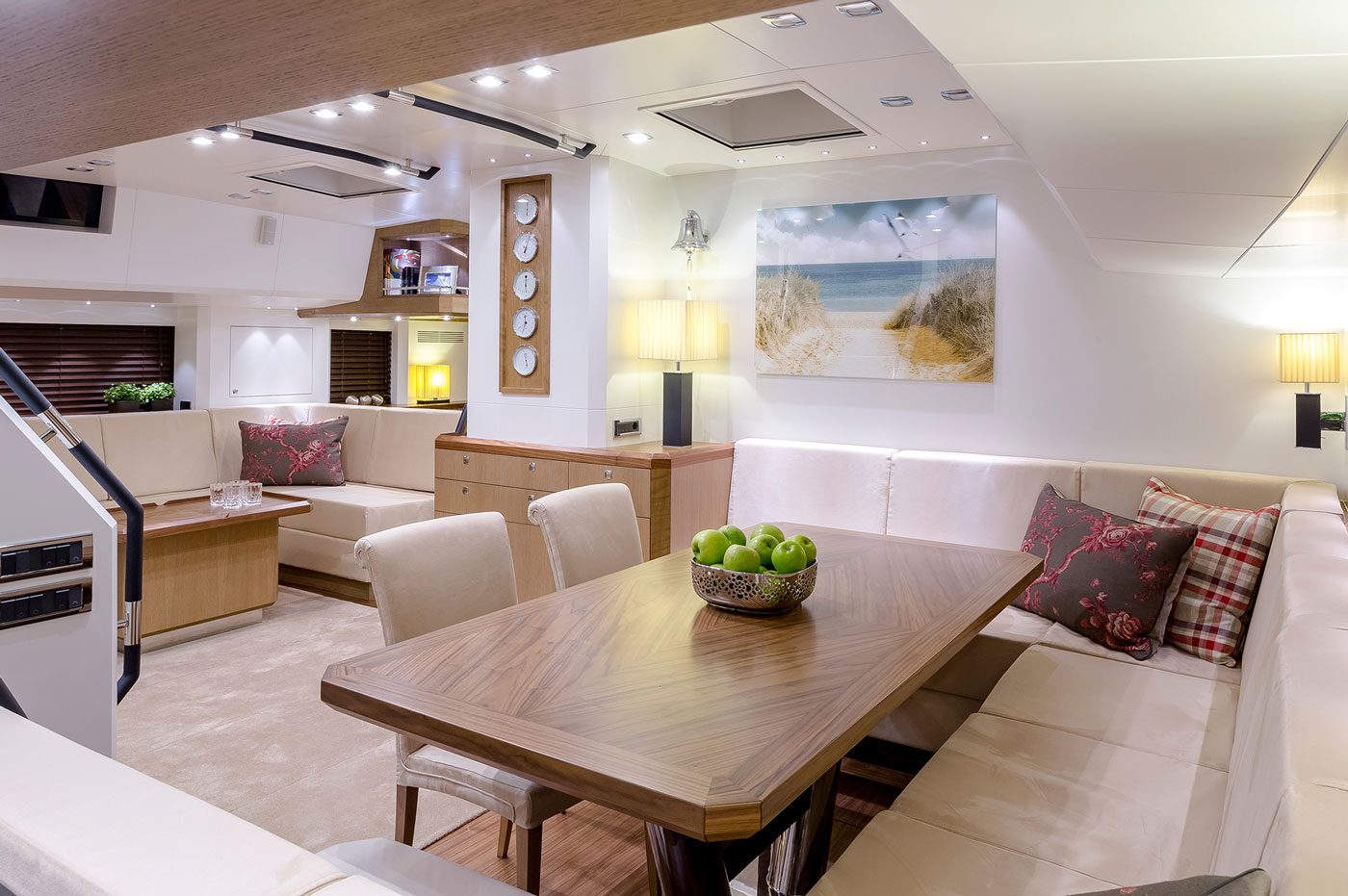 The contemporary, but comfortable interior salon of S/Y Bellkara.