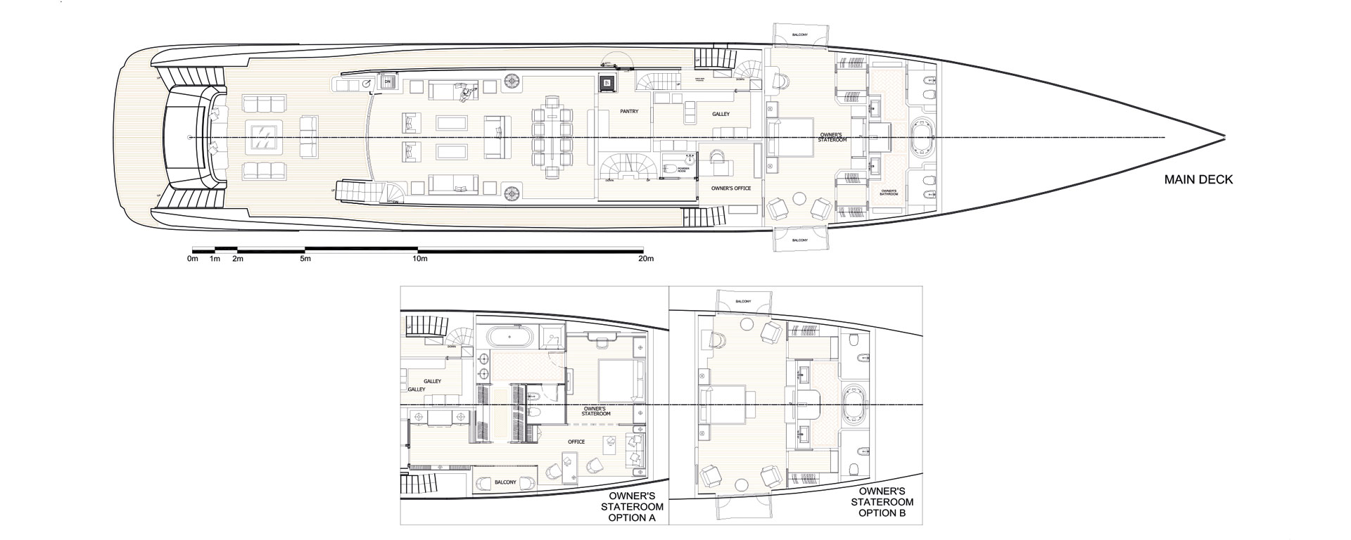 Conrad C166 Superyacht Concept Vallicelli Main Deck Layout