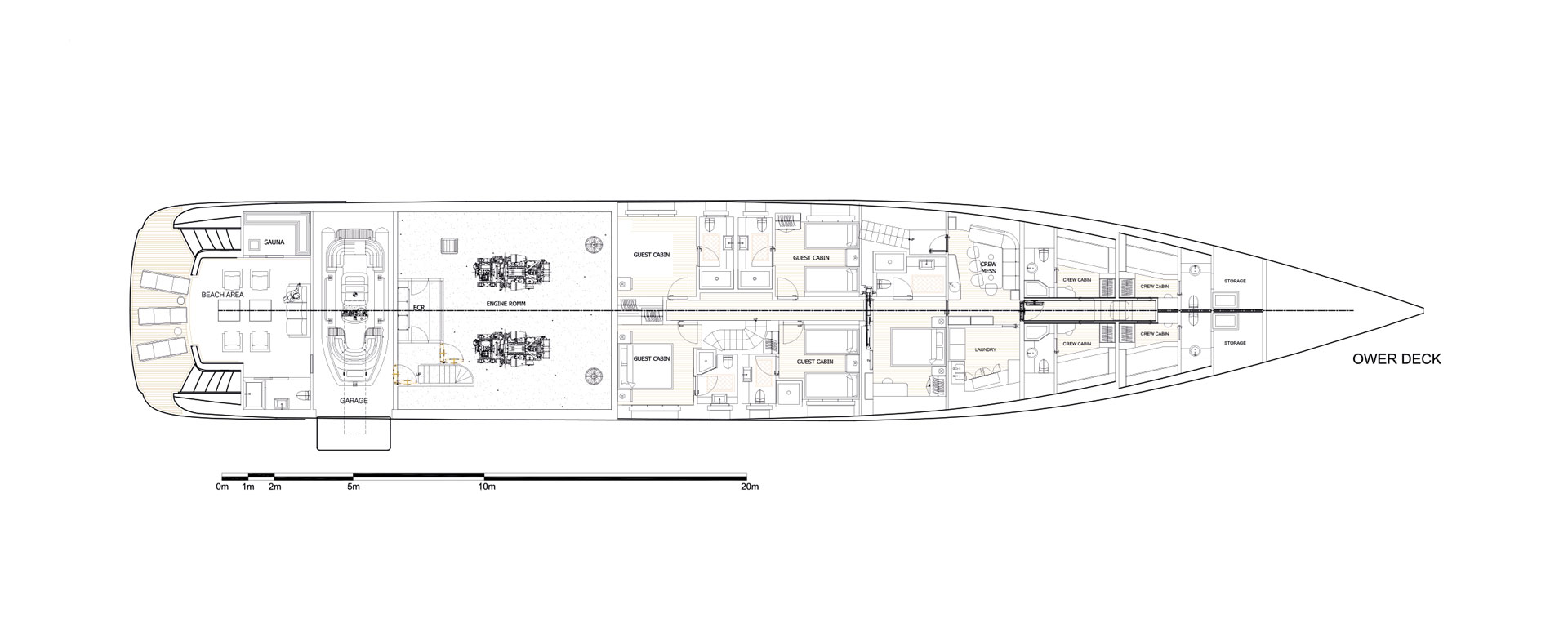 Conrad C166 Superyacht Concept Vallicelli Lower Deck Layout 1