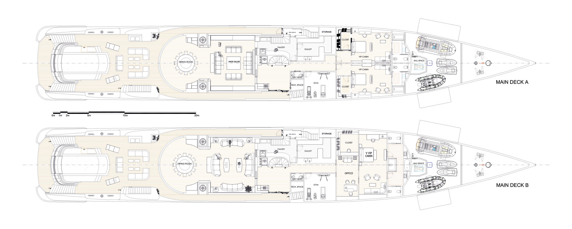 Conrad C233 Superyacht Concept Vallicelli Main Deck Layout