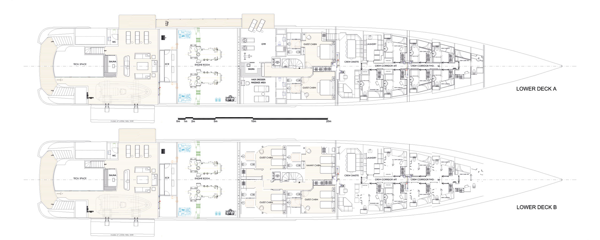 Conrad C233 Superyacht Concept Vallicelli Lower Deck Layout 1