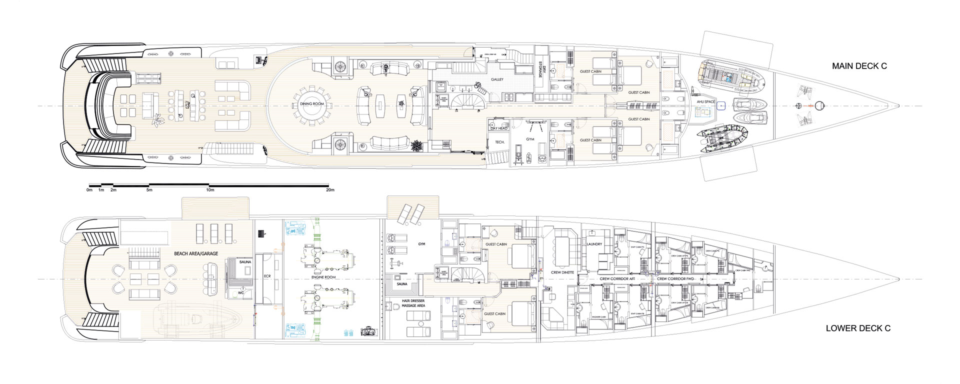 Conrad C233 Superyacht Concept Vallicelli Lower Deck Layout 2