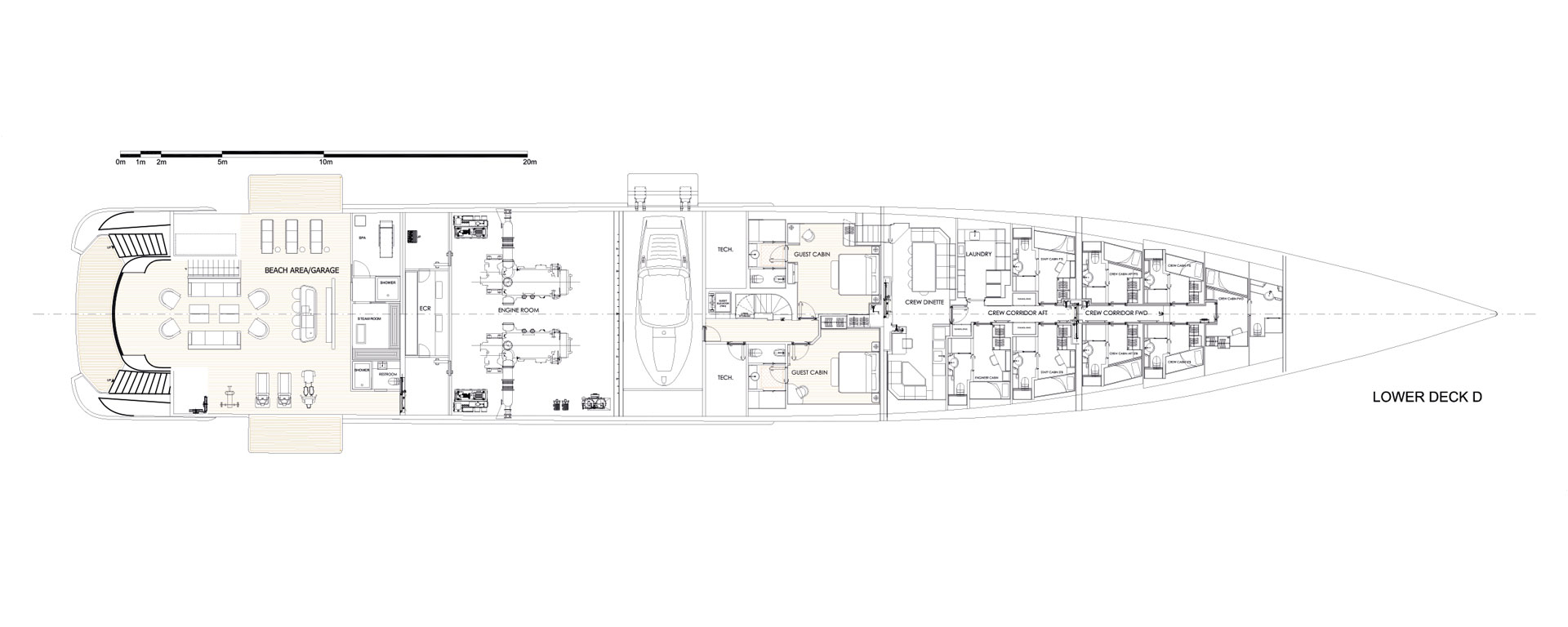 Conrad C233 Superyacht Concept Vallicelli Lower Deck Layout 3