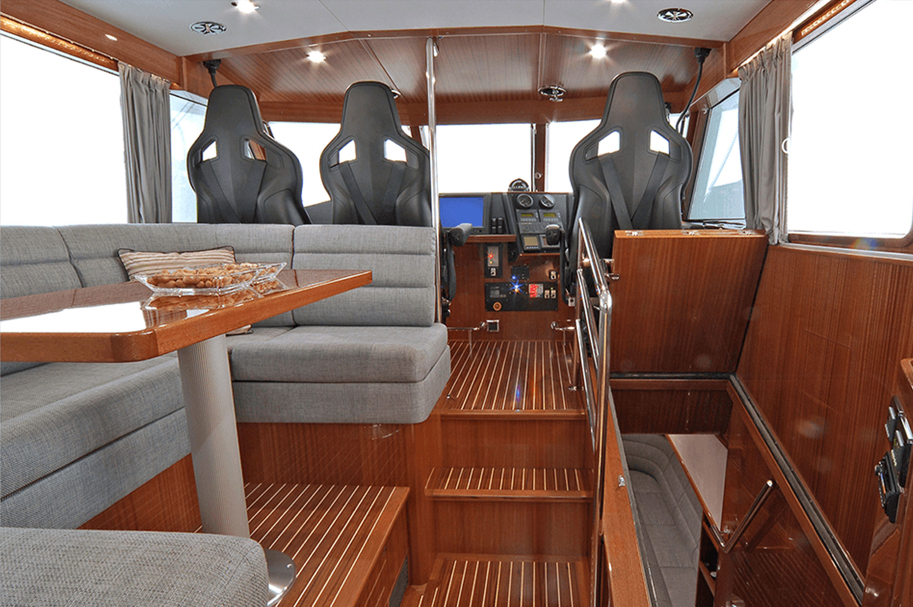 The durable yet, high quality interiors of the VIP Soc Dockets Series performance vessels.