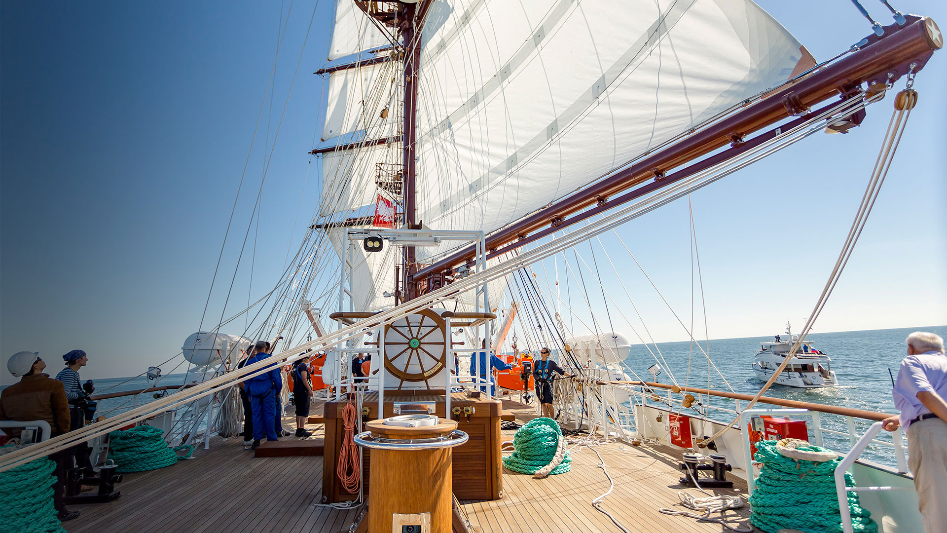 On deck of Conrad Le Quy Don during sea trials in the Baltic Sea